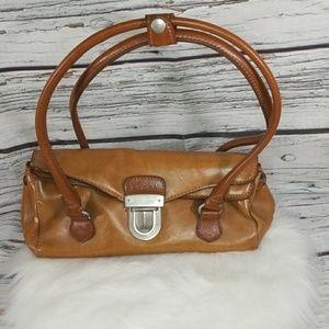 VINTAGE Prada Rina Rich Colab leather barrel hag